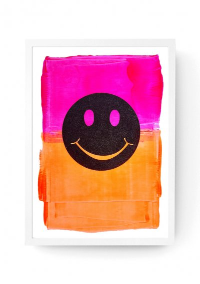 Fluorescent Black Smiley - Customised Screen Print A3
