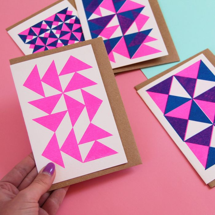Pack of 4 Geometric Pattern Cards - Risograph Printed