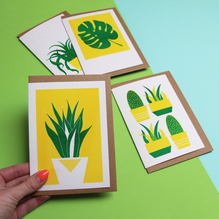 4 Pack of Plant Cards, Risograph Printed Blank Notelets