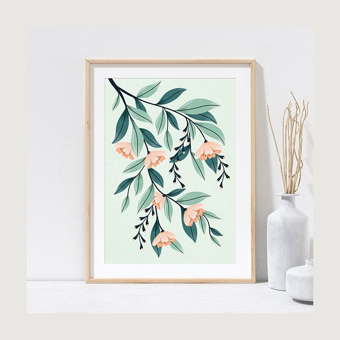 Peach and Sage Green Floral Plant Print