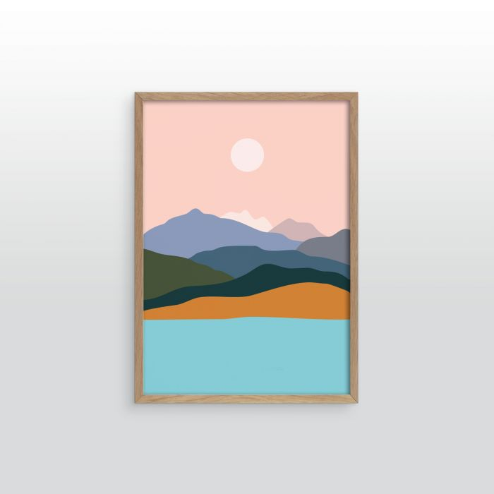Mountains by the ocean. Art print.
