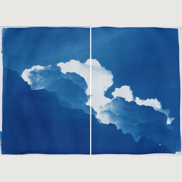 Yves Klein Clouds, Diptych of Cyanotype Prints, 140x100cm