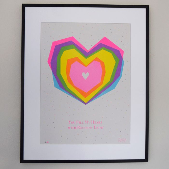 Risograph print | You fill my heart with rainbow light
