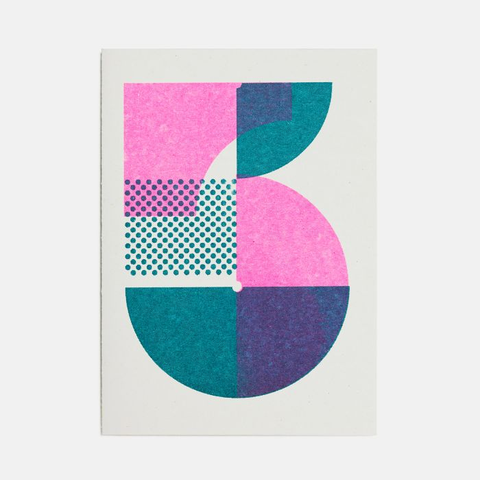 Number Five – A6 Greetings Card – Risograph Print