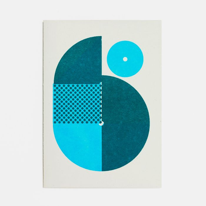 Number Six – A6 Greetings Card – Risograph Print
