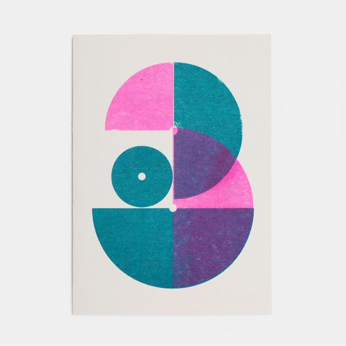 Number Three – A6 Greetings Card – Risograph Print