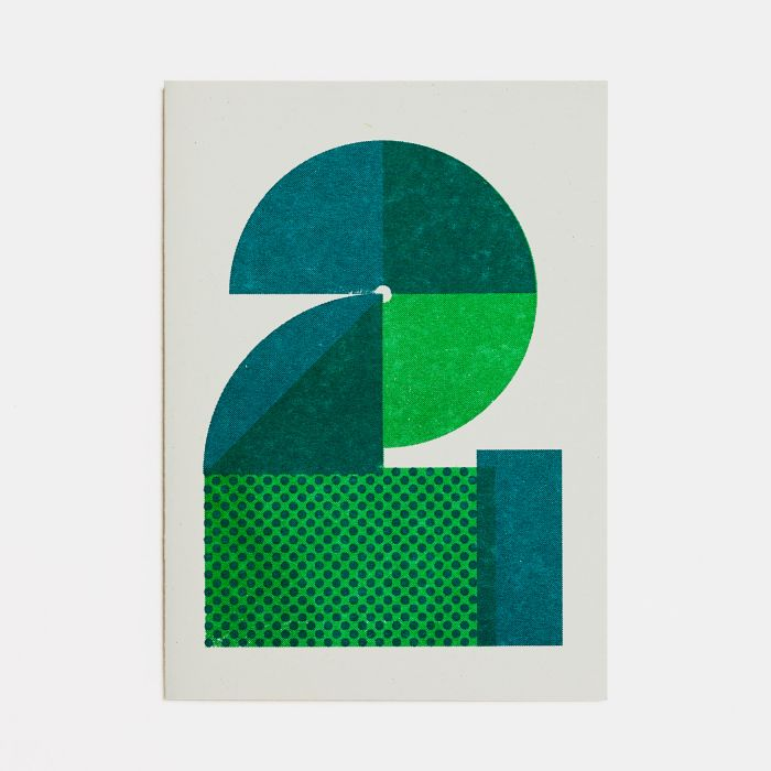 Number Two – A6 Greetings Card – Risograph Print