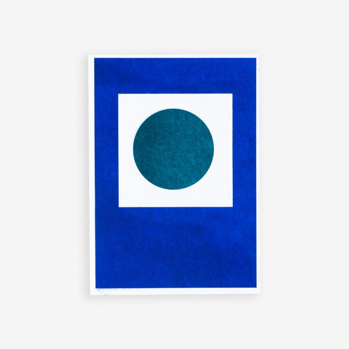 Teal Circle in Blue Square | Riso Postcard