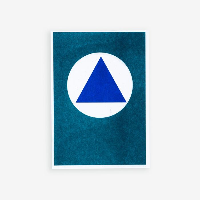 Blue Rectangle in Teal Square | Riso Postcard