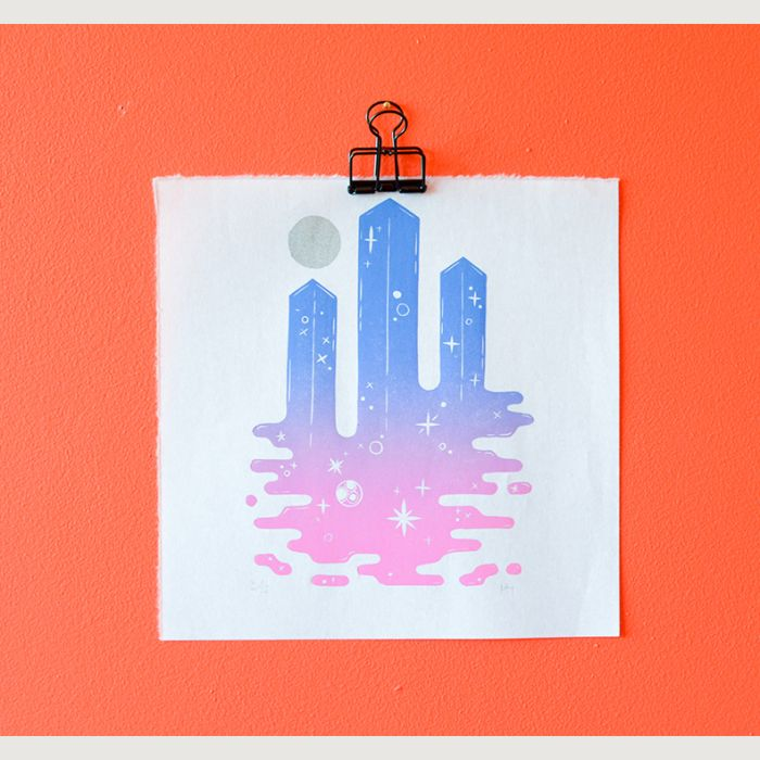 Space Columns in Amethyst   Limited Edition Linocut Print