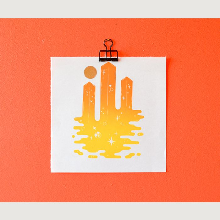 Space Columns in Amber Limited Edition Linocut Print