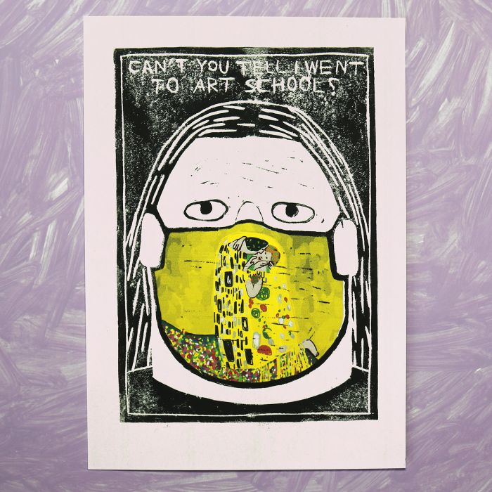 'Face Painting (The Kiss)' Unique Lino Print