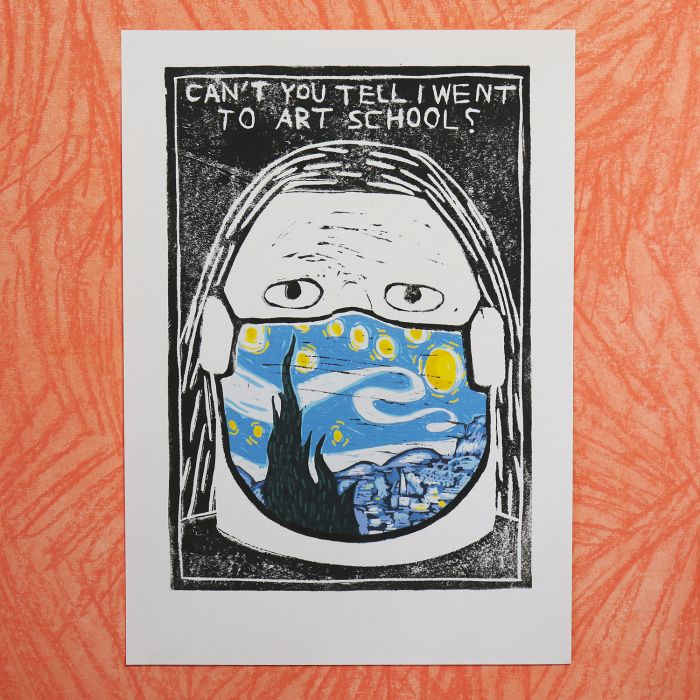 'Face Painting (The Starry Night)' Unique Lino Print