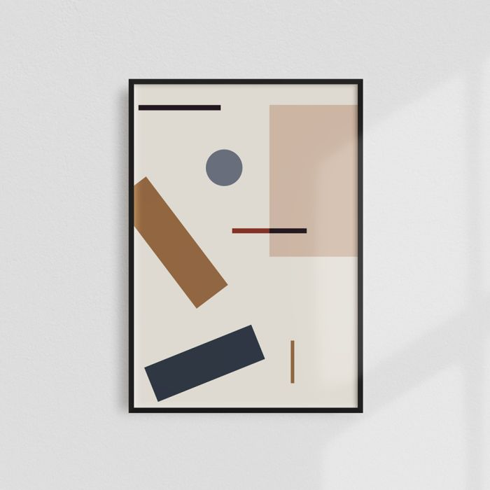A minimalist print exploring the relationship between scattered geometric shapes and the space between them.