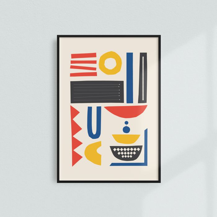 Abstract art printinspired by Modernist architecture and featuring a Terrazzo texture.