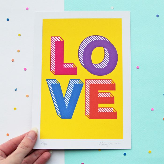 LOVE A5 Print - Colourful Lettering Wall Art