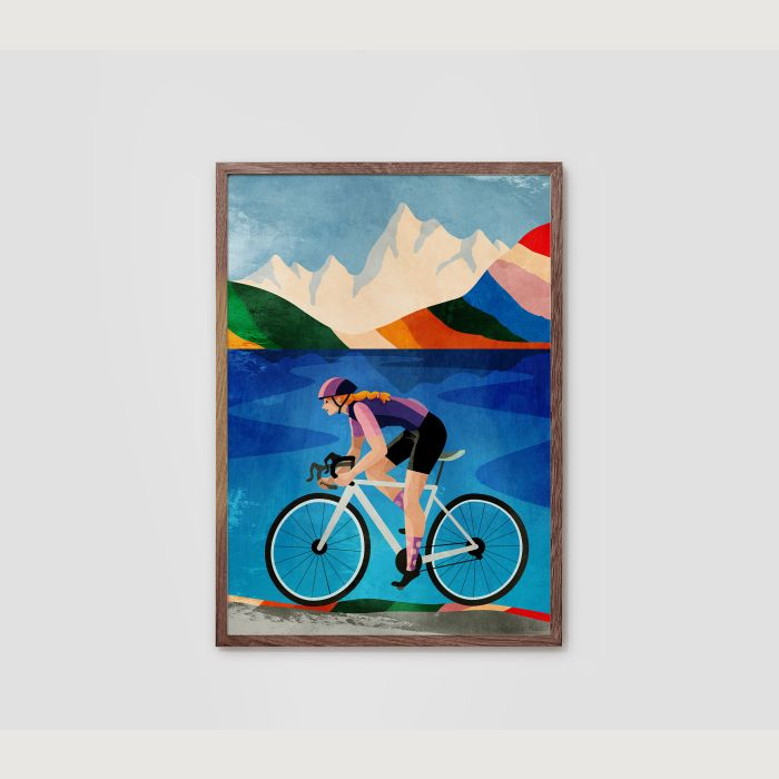 Cycling print. Woman cyclist. Great gift for cyclists.
