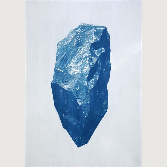 Sculpted Mineral Render Cyanotype Print, 100x70cm
