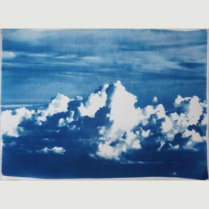 Blustery Clouds After a Storm Cyanotype Print, 100x70cm