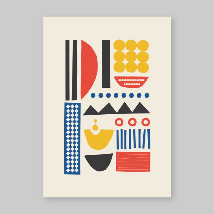 Abstract art print inspired by Berlin life and Mid Century Modern decor.