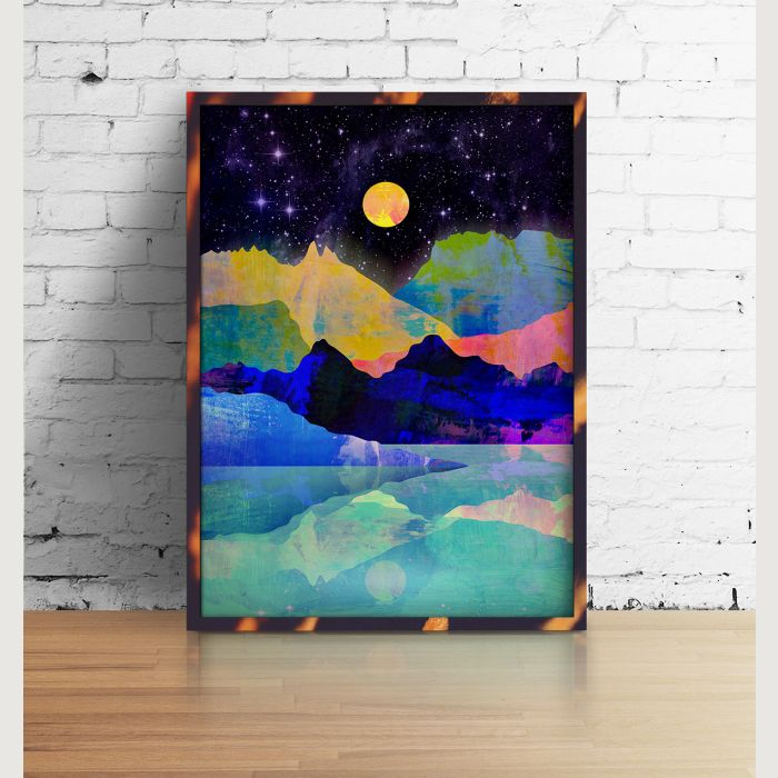Landscape art print. Moon and mountains.
