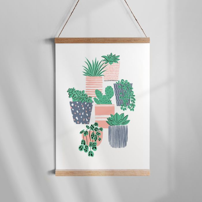 Pot Plants -- Teal and Pink A3 Riso Print