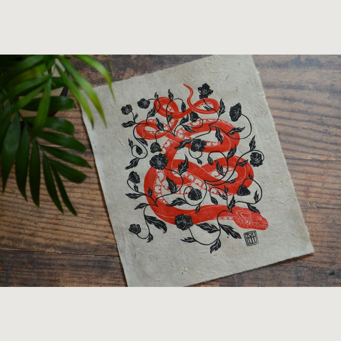 Snake & Poppies | Multi-Block Linocut Print