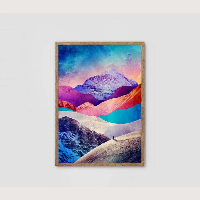 Landscape art print. Man and the mountain.