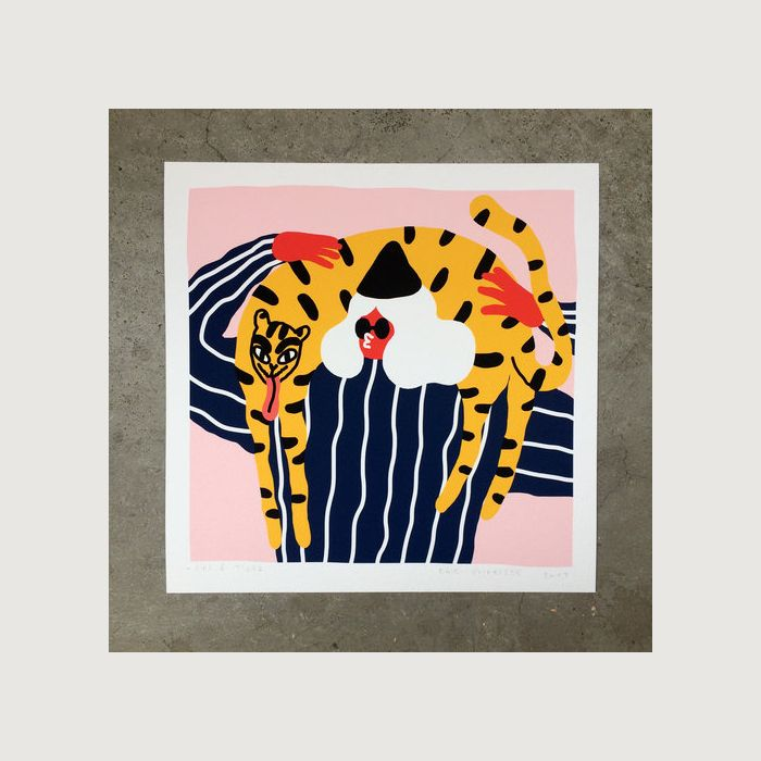 GIRL AND TIGER giclee print by EGLE ZVIRBLYTE