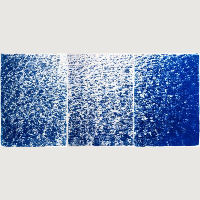 French Riviera Cove, Triptych of Cyanotype Prints, 210x100cm