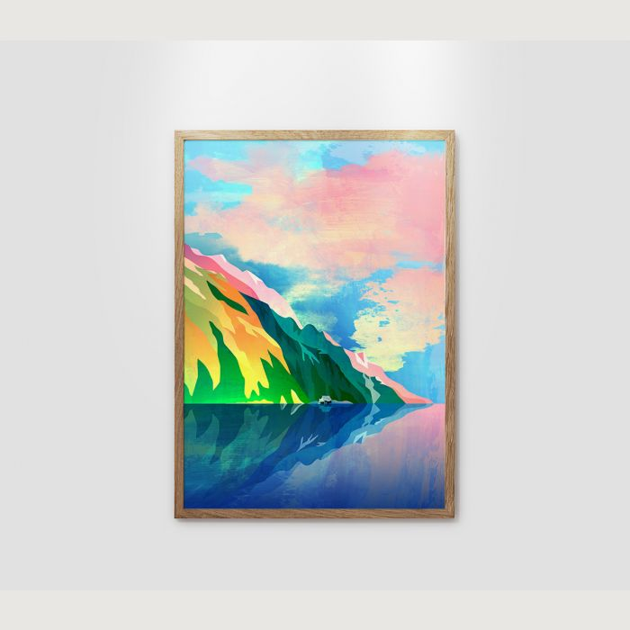 Landscape print. Crystal clear waters of alpine lake.